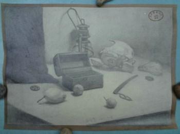 北京历史画社收藏留存之素描《静物》-【中国书画家联合】保真作品(U-WPE0)-中国收藏网