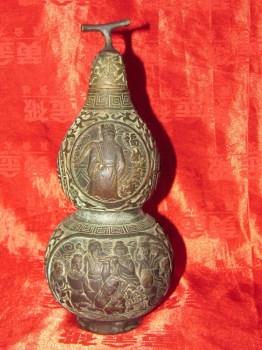 曹玉莲制款八仙葫芦形铜瓶-收藏网
