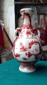 元代釉里红双耳瓶-收藏网