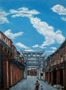 漳州香港路古街牌坊(油画)-收藏网