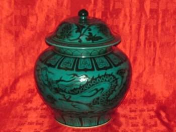 元孔雀绿釉龙纹盖罐-收藏网