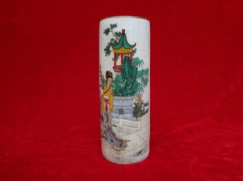 非常精美的一个仕女图开片老瓷笔筒,图案极其漂亮-收藏网