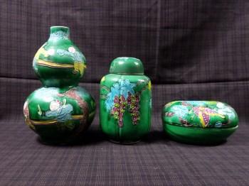 清素三彩葫芦瓶(三件套)-收藏网