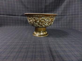 清茶叶沫堆塑高脚杯-收藏网
