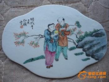 包老,下乡收来的民国时期仙槎作浅绛彩人物瓷板一块{全品完整} -收藏网