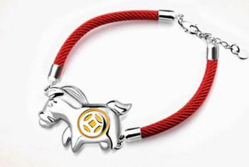 红绳纯银马年转运手链-收藏网
