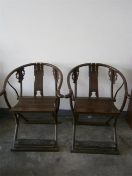 精品明式古典家具清晚期鸡翅木雕龙凤纹交椅一对-收藏网