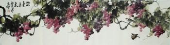 崔学坤六尺横幅国画葡萄紫气东来编号5155-中国收藏网
