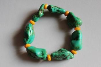 绿松石随形原石手串-收藏网