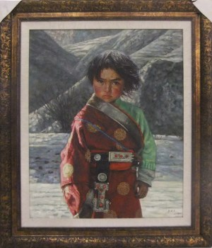 藏族小女孩,原创收藏油画,张建民-收藏网