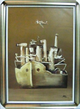 老船系列之六,原创现代油画,武汉美术家协会理事吕东波-中国收藏网