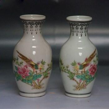 喜鹊蹬枝图赏瓶一对 -收藏网