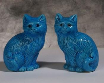 单色釉瓷猫一对 -收藏网