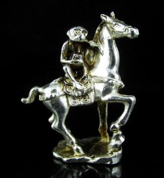 民间收藏精品 一元拍 精美白铜工艺精湛 马上封侯 摆件-收藏网