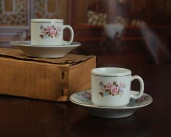景德镇陶瓷/文革瓷/收藏/出口粉彩描金花卉筒子杯碟六套装 -收藏网