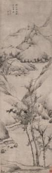 《仿倪山水图》,清,弘仁绘  高仿-收藏网