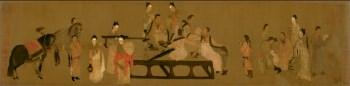 高仿 北齐-杨子华-校书图-绢本-中国收藏网
