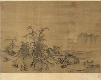 高仿 北宋-郭熙-窠石平远图卷-绢本120x167-中国收藏网