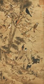 高仿 明-边景昭-三友百禽图-绢本79x148.jpg-收藏网