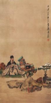高仿 明-陈洪绶-品茶-绢本107x53-.jpg-收藏网