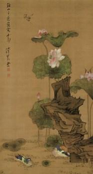 高仿 明-陈洪绶-荷花鸳鸯图98X183.jpg-收藏网