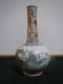 乾隆粉彩小天球瓶(口沿鎏金)-收藏网