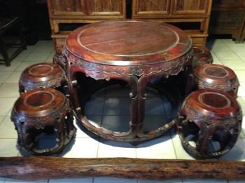 老挝红酸枝圆桌七件套-收藏网