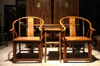 黄花梨圈椅三件套-中国收藏网