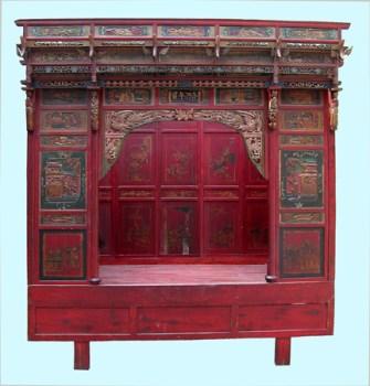 清代古董雕刻千工床-收藏网