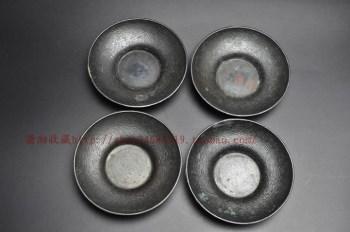 [古铜 圆形茶托]銅製円式茶托四客 煎茶道具-收藏网