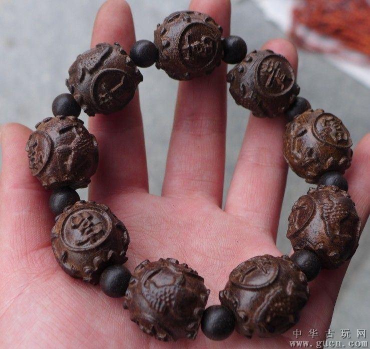 越南沉香 保真 手工雕刻红木雕工艺品富贵手链手串 招财