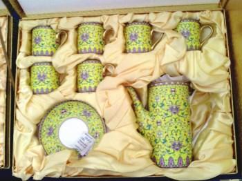 浮雕:万寿无疆(孝庄*大玉儿)13头茶具(黄)-中国收藏网