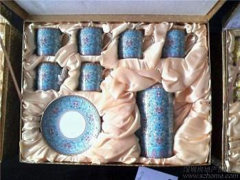 浮雕:万寿无疆13头精品茶具(蓝)-收藏网