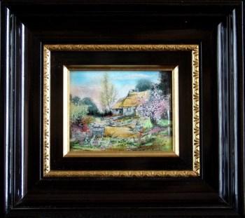 法国利摩日珐琅彩画《春日》-收藏网
