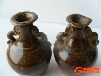 包老出土宋元吉州窑双耳小花瓶一对-中国收藏网