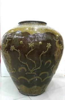 酱釉龙纹大罐-收藏网