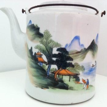 民国水彩青山绿水直筒茶壶-收藏网