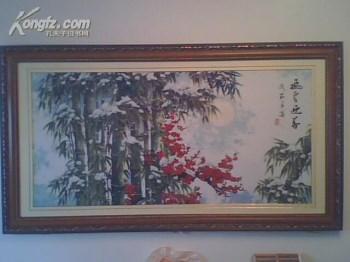 十字绣(飞雪迎春,如图框架为:长x宽=190cmx105cm,重约80斤)-收藏网