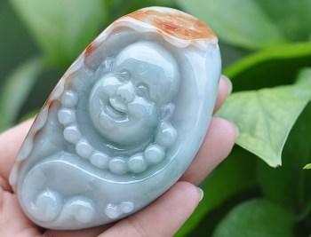 缅甸天然红黄翡俏色A货翡翠玉佛手把件玩件-中国收藏网