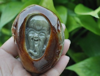 缅甸天然红黄翡A货老坑原石巧雕翡翠寿星手把件玩件-中国收藏网