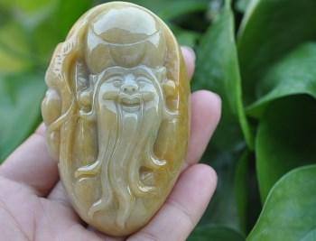 缅甸天然黄翡翡翠寿星手把件玩件送证-收藏网