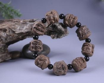 越南沉香木十八罗汉手串20MM佛珠手把件辟邪护身红木工艺品-收藏网