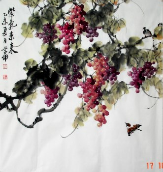 崔学坤六尺斗方国画葡萄紫气东来编号6022-收藏网