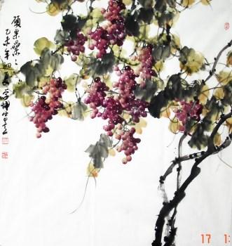崔学六尺斗方国画葡萄编号6023-收藏网