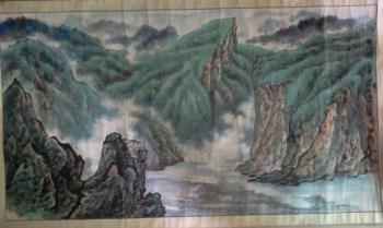 中国当代书画家齐何雄,青绿山水,横幅,尺寸152*84cm-收藏网