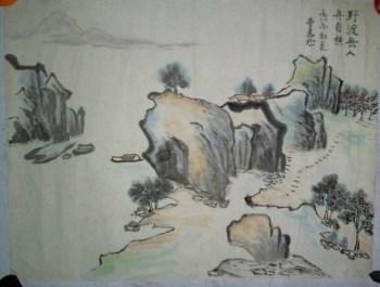 中国当代书画家《野渡无人舟自横》 尺寸 50*50cm-收藏网
