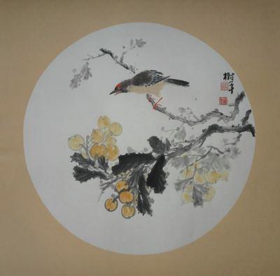 画家张淑平花鸟画扇面小品 潍坊翰墨轩艺术画廊
