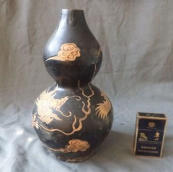 宋吉州窑龙纹葫芦瓶(口有瑕疵)-中国收藏网