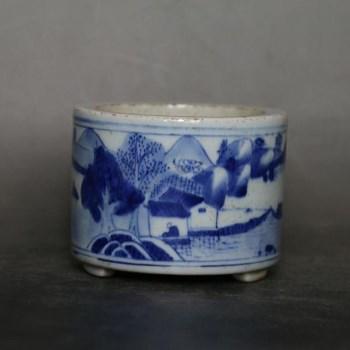 清 青花瓷山水纹三足洗-中国收藏网