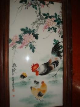 """小八友邓肖禹真迹粉绛彩""""教子图""""瓷板画-中国收藏网"""